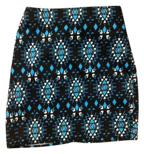 Divided by H&M Aztec Print Geometric Mini Skirt Blue Multi