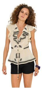 Plenty by Tracy Reese Silk Embroidered Ruffle Cut-out Date Night Top Cream