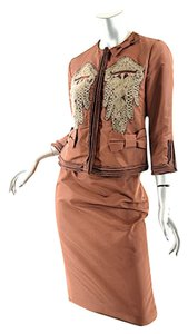 Prada Prada Jacket/Skirt Rust Silk Crochet Detail Applique-Mint Cond-Runway- 40/6