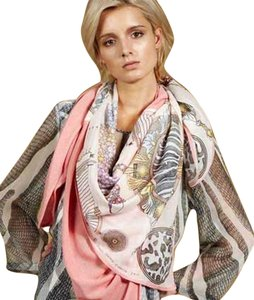 Swash Swash Rose Silk Print Cashmere Knit Cape Scarf