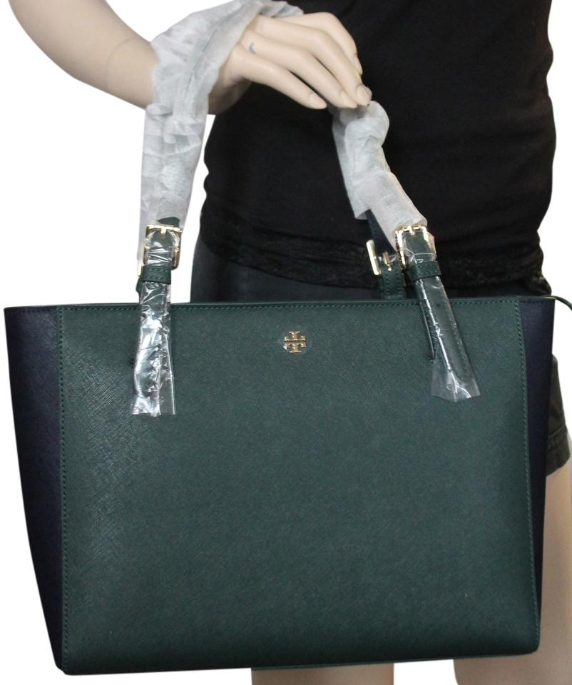 8d44569cf09 Tory Burch With Tags York Small Buckle Shoulder Handbag Jitney Green Tory  Navy 396 Saffiano Leather Tote