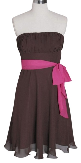 Preload https://item4.tradesy.com/images/brown-chocolate-strapless-chiffon-pleated-bust-knee-length-cocktail-dress-size-8-m-906118-0-0.jpg?width=400&height=650