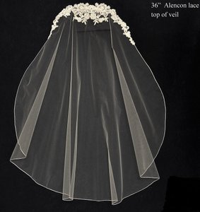 JL Johnson Bridals Bridal Veil With Lace