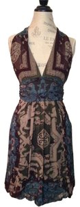 Nicole Miller Multicolored Halter Size 8 Empire Waist Silk Dress