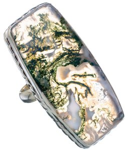 Green Moss Agate 925 Sterling Silver Ring Size 8