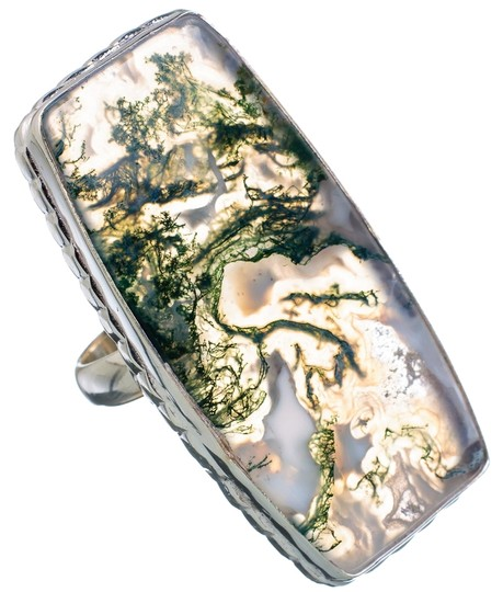 Other Green Moss Agate 925 Sterling Silver Ring Size 8
