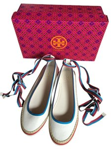 Tory Burch New Never Worn Sneakers Size 8 Ivory with Blue & Red accents Athletic
