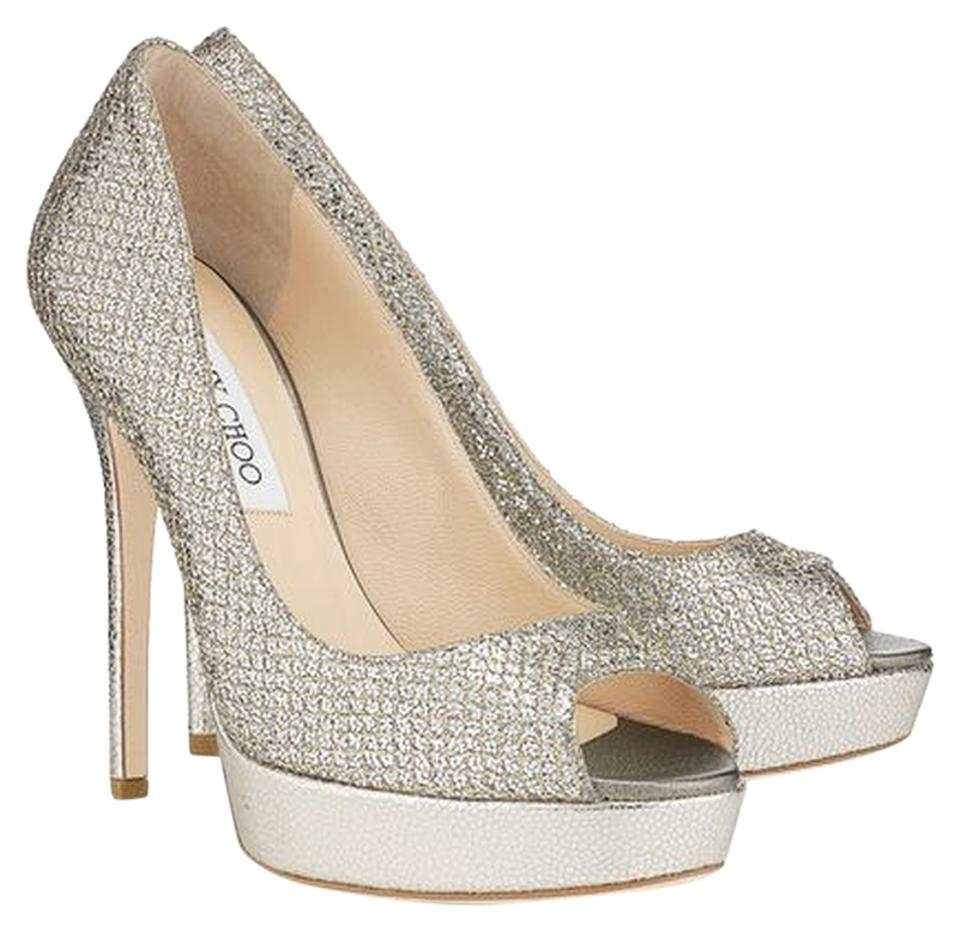 08a660ef2ef1 Jimmy Choo Silver Silver-tone Metallic Crown Glitter Peep-toe 39 New Pumps
