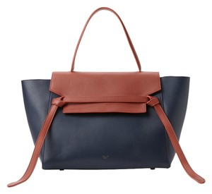 Céline Belt Bicolor Tote in Navy Copper Celine