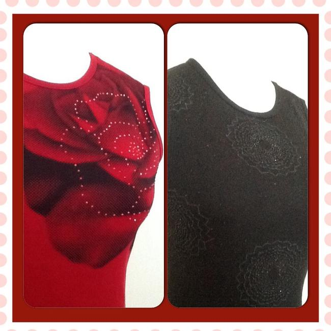 New York & Company Embellished Top Red / black