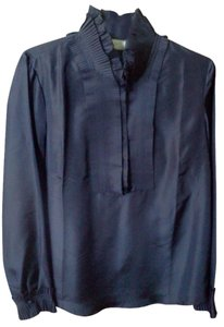 Soft Surroundings Silk Night Out Ruffle Top navy blue