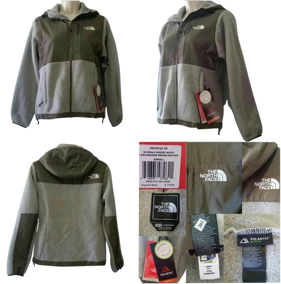 d824f6349 The North Face Weimaraner Brown Heather Denali Hooded Fleece Jacket Size 2  (XS)