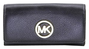 Michael Kors Michael Kors Fulton Flap Leather Clutch Wallet - Black