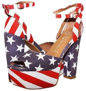 Jeffrey Campbell Peep Toe Canvas red white and blue Platforms