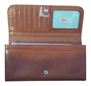 Hobo International Amica Bifold Wallet Leather Cognac Clutch