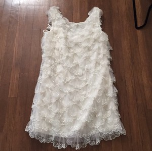 BHLDN White Organza Feminine Wedding Dress Size 6 (S)