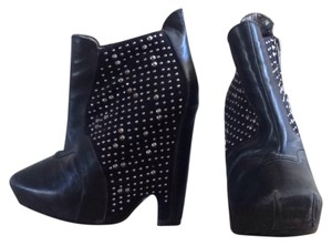 Sam Edelman Studded Suede Leather Ankle Black Wedges
