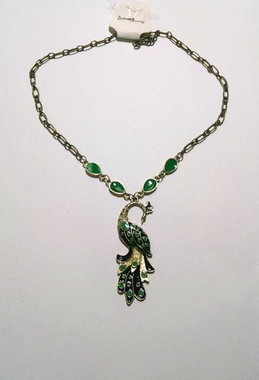 Other Peacock Chainlink Pendant Necklace Green Brass J1538