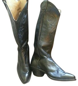 Leather Western Black Boots