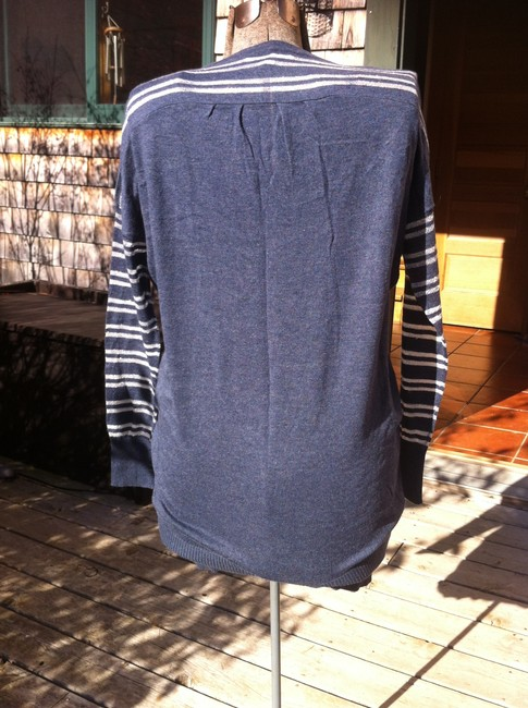 BCBGeneration short dress Dark Blue with silver stripe sleeves Tunic Sheer on Tradesy
