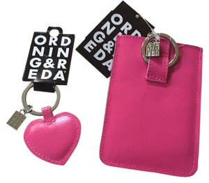 Ord Nin G & R EDA NWT Pink Leather Heart Key Ring