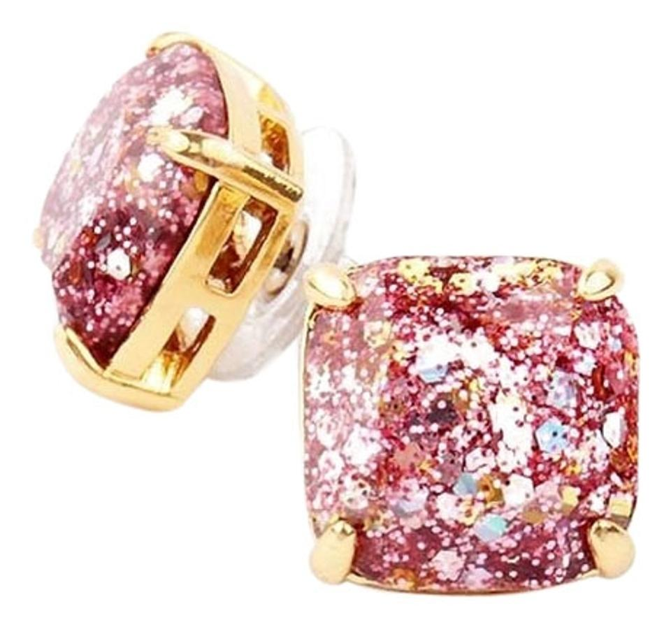 Kate Spade New York Rose Gold Pink Glitter Studs Earrings 12k