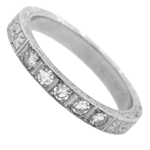 1920s Antique Art Deco 18k Solid White Gold Diamond Eternity Wedding Band Ring