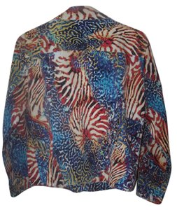 Chico's red white blue and black Womens Jean Jacket