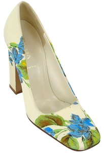 Prada Silk Floral Pump Chunky Ivory, Green, Blue Pumps