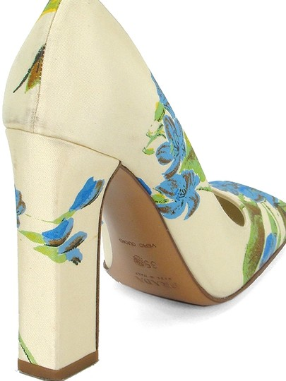 Prada Silk Floral Chunky Spring Formal Ivory, Green, Blue Pumps