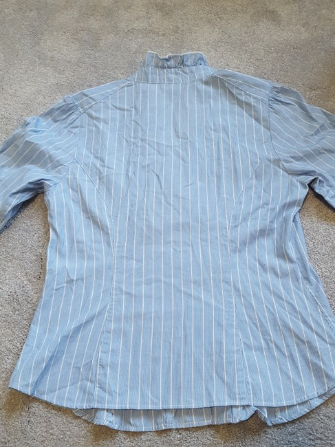 Anthropologie Button Down Shirt blue with pinstripes