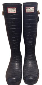 Hunter by Jimmy Choo Black Croc embossed Boots