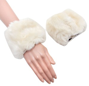 Other Cream Ivory Faux Fur Arm Warmer Gloves