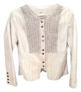 Cache Well Executed Details Longsleeve Fun Stone/Light Gray Leather Jacket