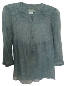 Zadig & Voltaire Floral Buttons Top Green & Metallic