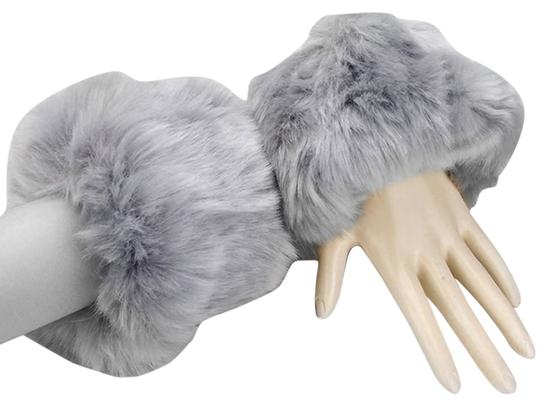 Other Gray Faux Fur Arm Warmer Gloves