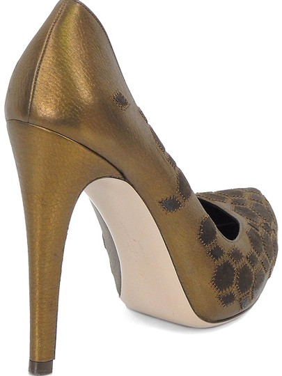 Salvatore Ferragamo Leopard Geometric Pointed Toe Stiletto Metallic Bronze Brown, Bronze Pumps