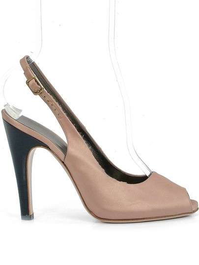 Salvatore Ferragamo Slingback Satin Silk Sateen Peep Toe Hidden Platform Pink Formal