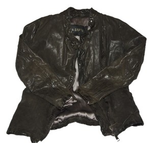Giorgio brato vegetable dyed black Leather Jacket