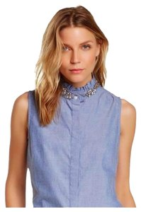 English Laundry Embellished Sleeveless Oxford Oxford Cloth Top Blue