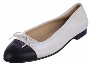 Chanel Ballet Captoe Bow White Flats