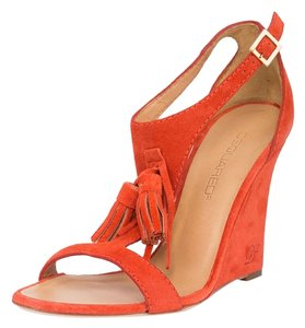Dsquared2 Suede Genuine Leather Sandals Orange Wedges