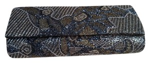 Deepa Gurnani Beaded Evening Formal Black and gold / bronze metallic Clutch