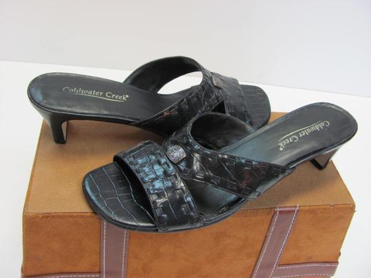 Coldwater Creek Good Condition Leather Size 9.50 M Black Mules