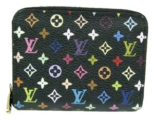 Louis Vuitton Authentic Louis Vuitton Multicolore Monogram Noir Zippy Coin Purse with Grenade Interior