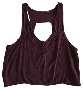 Brandy Melville Cut-out Casual Top Maroon