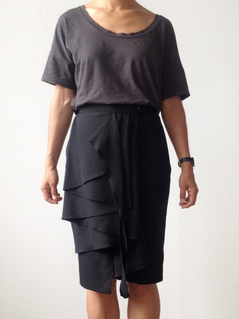 Other Chic Avant Garde Date Night Fashionable Draped Night-out Exclusive Skirt Black