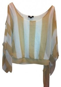 bebe Top White & Tan stripe