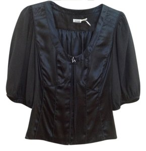 Max Studio 100% Silk Romantic Top Black