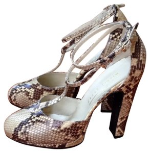 Michel Perry Beige python snakeskin & leather Pumps